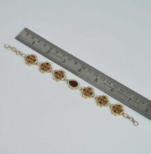 925 SILVER PLATED FACETED RED RUBY EMERALD CUBIC ZIRCONIA TURKISH BRACELET Py939