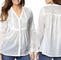 UK Plus Size 6 - 18 Women's White Broderie Anglaise Cotton Blouse Shirt