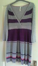 White stuff grey purple stripe tunic dress lambswool angora cashmere BNWOT