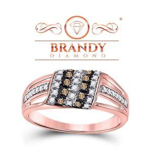 Brandy Diamond® Chocolate Brown 10K Rose Gold Stylish Wave Design Ring .36 CT