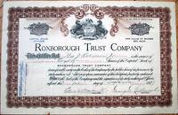 1927 Bank Stock Certificate: Roxborough Trust Company - Pennsylvania PA