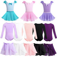 Girls Ballet Dance Dress Child Gymnastics Leotard+Wrap Skirts Dancewear Costume