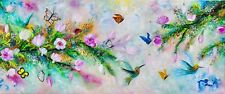 Spring Painting, Flowers Humming Bird Painting, Butterfly Oil Painting