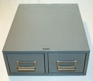 """2-Drawer Steel Index Card Filing Cabinet - 13"""" X 16"""" X 5-1/4"""" - Crinkle Finish -"""