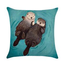 Cute Otter Linen Pillow Case Sofa Throw Cushion Cover Home Decor 45x45cm HOT GY