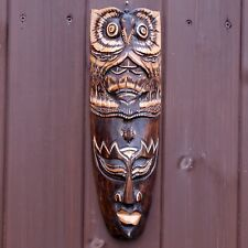 Hand Carved Owl & Bird Tribal African Wall Hanging Mask Face 33 Cms Mens Gifts