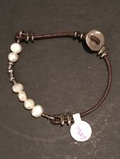 Silpada Sterling .925 leather Pearl Bracelet B1062