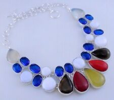 White Agate-Yellow Chalcedony-Onyx Silver Overlay Necklace Oj-271