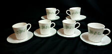 Corelle Corningware Set of 6 Callaway White Swirl Green Ivy Cups And Saucers