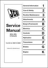 JCB 3CX 4CX Backhoe Loader Service Repair Manual CD