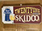"Vintage Pabst Blue Ribbon Beer Wood Sign - Twenty One Or Skidoo - 23 1/2"" x 11"""