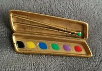 Vintage Signed Danecraft Goldtone Artist Paint Pallette brushes Brooch/Pin