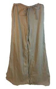 Ann Taylor Women's Linen Slacks Pants Wide Leg Tan Side Zipper Size 4 NWT