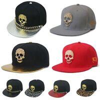 Strap back Hats unisex bling spike skull Baseball snapback Hip Hop trucker cap