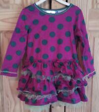 Hanna andersson Dress 100 tulle ruffles purple and green polkadot GUC