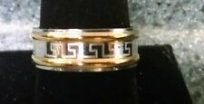 Stainless Steel Silver & Gold Tone Aztec Design Ring Size 10