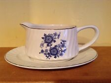 Nice Royal Blue Wedgewood & Co England ironstone gravy sauce boat and plate