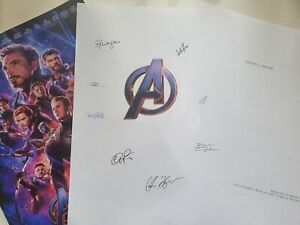 Avengers Endgame Script/Screenplay With Movie Poster And Autographs Signed Print