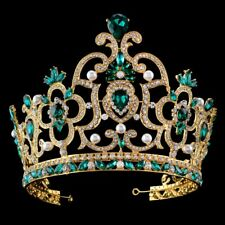 14cm High Super Large Green Crystal Crown Tiara Wedding Prom Party Pageant