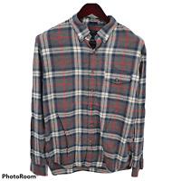 J CREW Large Slim Plaid Long Sleeve Shirt Button Down Brushed Twill