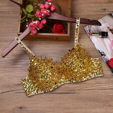 New Women Belly Dance Costume Bra Halloween Tops Clothes Outfits Sequins &Beaded