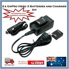 2 x GoPro Hero 3+ / 3 Compatible Batteries & AC Wall / Car Auto Charger Bundle