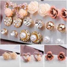 9Pair/Set Elegant Women Crystal Flower Pearl Earrings Zircon Stud Charms Jewelry