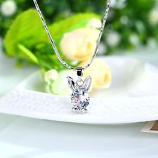 Silberkette Kette Halskette mit Anhänger Geschenk Swarovskielement Hase Kristall