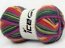 (1) 100 Gram Smart Sock Yarn Ice #67415 Pink, Green, Yellow Superwash Wool Nylon