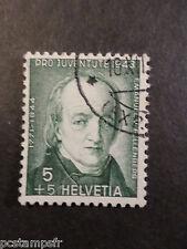SUISSE SCHWEIZ 1943, timbre 388, FELLENBERG, CELEBRITE, CELEBRITY, oblitéré