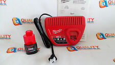 New One Milwaukee M12 Red Lithium 12V Li-Ion Battery 48-11-2401 & Charger