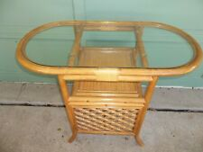 Vintage Bamboo Rattan Oval Glass Top Dinette Table w/ Shelf Breakfast Nook Tiki