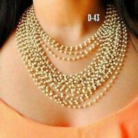 Indian Bollywood Pearl Chain Strand Necklace Earring Set Ethnic Wedding Jewelry