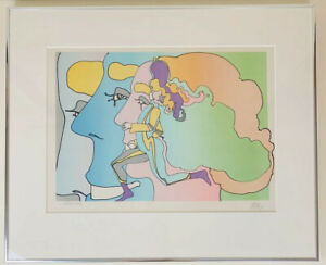 "Peter Max 1973 Signed Framed Serigraph Print ""Three Lords and Runner"" Pop Art"