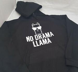 No Drama Llama Hoodie Age 5-6 to Adult XXL NEW Black