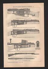 Lithografie 1897: Handfeuerwaffen I/II. Waffen Gewehr Patrone Schlagbolzen