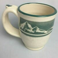 HANDMADE THROWN Mountain Scene Hand Painted Coffee Tea MUG CUP POTTERY Signed