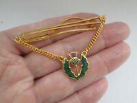 Vintage Gold Tone Enamel  Scottish Thistle Chain Tie Slide Clip Mens Jewellery