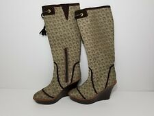 Baby Phat Womens Knee High Wedge Heel Boots Canvas Leather Cat Logo Brown 7.5