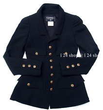 "CHANEL CLASSIC ""FOUR-POCKET JACKET""  BLACK JEWELED  GRIPOIX BUTTONS BLAZER -36"