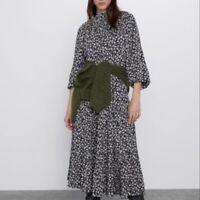 Zara Blue Floral Tiered Long Sleeve Midi Dress Size Medium NWOT