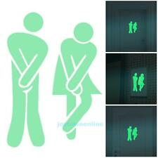 Removable WC Man Women Door Sticker Bathroom Toilet Green Luminous Decals Decor