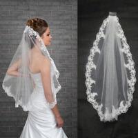 White/Ivory Hot 1 Pcs 1 Layer Wedding Veil Bridal Veils Lace Edge With Comb