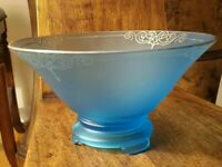 Art Deco tiffin glass co.Satin Blue Frosted Bowl With Silver Gilding