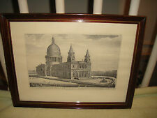 Antique Engraving Of St. Pauls Cathedral London-R.H. Laurie-North West View-LQQK