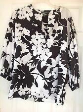 Lauren Ralph Lauren Black & White Floral Tunic Shirt Top Blouse Size Medium