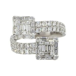 18k White Gold 1.4ctw Diamond Double Station Overpass Ring