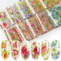 10 Sheets/Lot Nail Foil Transfer Stickers Flower Pattern Nail Art Decoration JP