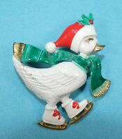 Unique Vintage Christmas Pin Brooch Enamel Ice Skating Duck with Santa Hat