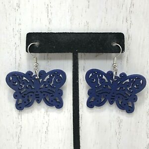 Large Blue Butterfly Wood Filigree Cut Out Earrings Pierced Light Weight Spring